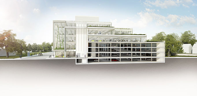 Section Alex Losada Sustainable Architecture Parking Office
